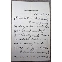 Colonel Sir Charles Edward Howard Vincent KCMG CB DL Signed 1899 letter