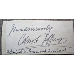 Admiral Edmund Frederick Jeffreys Signed Letter Clip