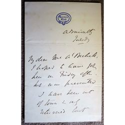 Thomas George Baring, 1st Earl of Northbrook Signed Letter