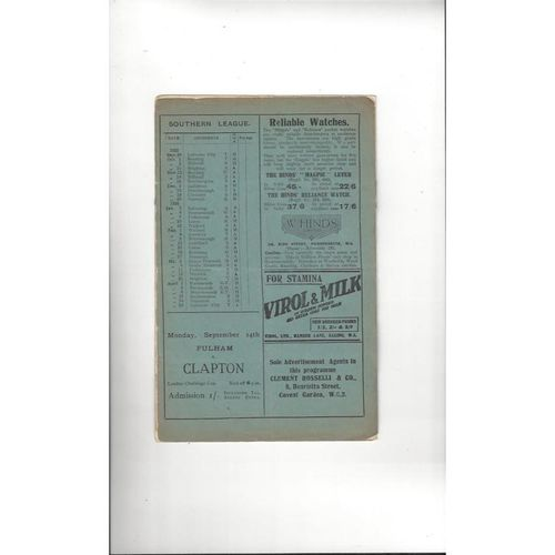 1925/26 Fulham v Clapton Orient London Combination Football Programme