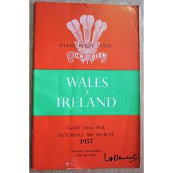 Wales V Ireland 1957 Rugby Union Programme Cardiff Arms Park
