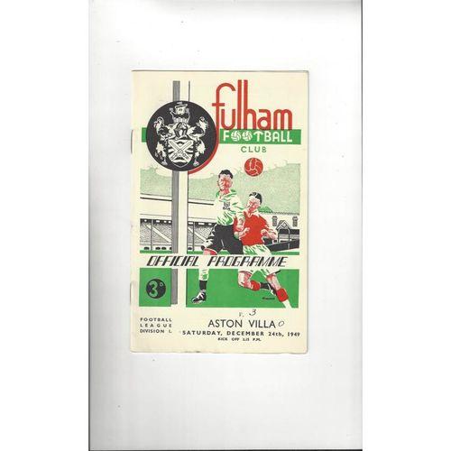 1949/50 Fulham v Aston Villa Football Programme