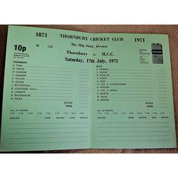 Thornbury V MCC 1971 Alveston Cricket Scorecard