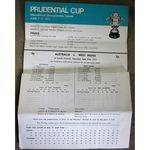Australia V West Indies 1975 Lords Prudential Cup Cricket Scorecard