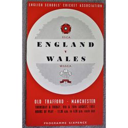 1951 Schools Cricket Association Match England V Wales Programme