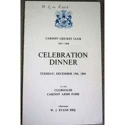 Cardiff Cricket Club 1964 Dinner Menu with Autographs