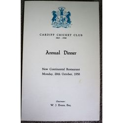Cardiff Cricket Club 1958 Annual Dinner Menu