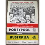 Pontypool RFC V Australia Rugby Union Programme 1984