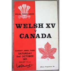 Wales (Welsh XV) V Canada 1971 Rugby Union Programme