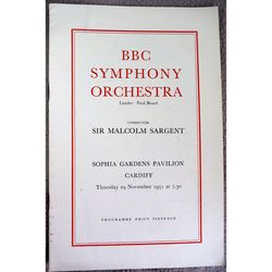BBC Symphony Orchestra Malcolm Sargent 1951 Sofia Gardens Cardiff Programme