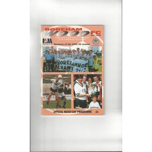 Boreham Wood v Dover Athletic FA Trophy Football Programme 1995/96