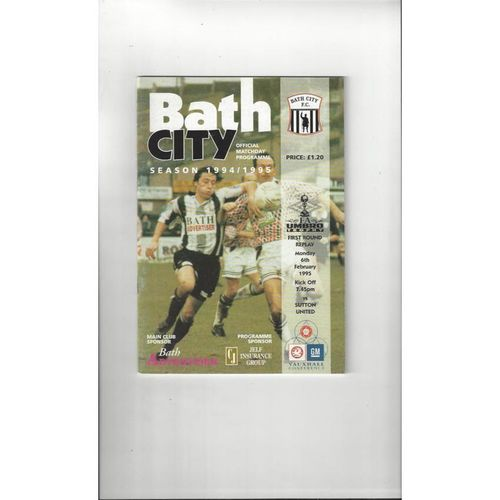 Bath City v Sutton United FA Trophy Football Programme 1994/95