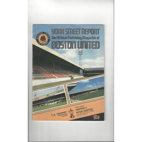 Boston United v Hyde United FA Trophy Football Programme 1981/82
