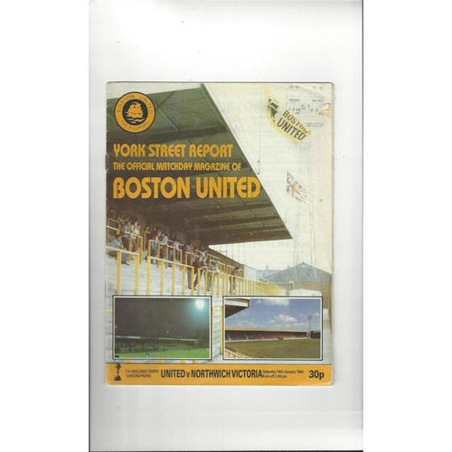 1983/84 Boston United v Northwich Victoria FA Trophy Football Programme