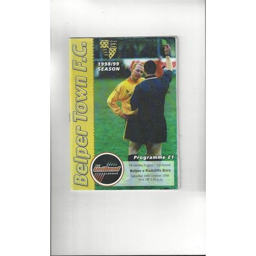 Belper Town v Radcliffe Borough FA Trophy Football Programme 1998/99