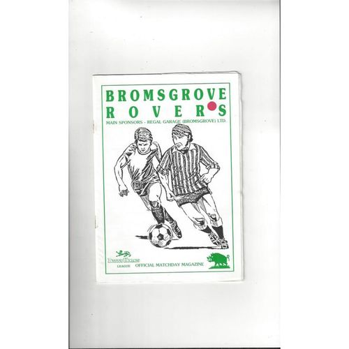 Bromsgrove Rovers v Hednesford FA Trophy Football Programme 1991/92