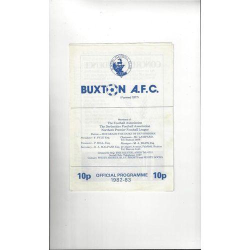 Buxton v Curzon Ashton FA Trophy Football Programme 1982/83