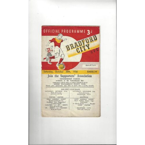 1956/57 Bradford City v Barrow Football Programme