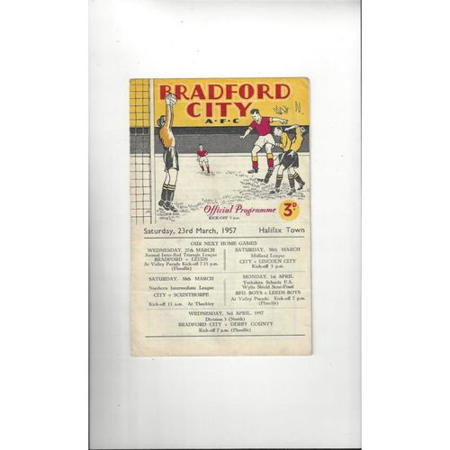 1956/57 Bradford City v Halifax Town Football Programme