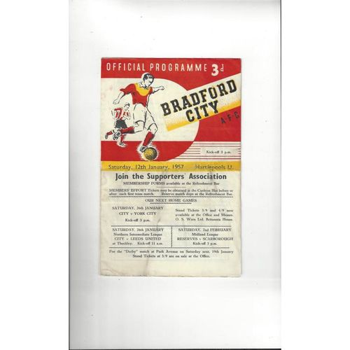 1956/57 Bradford City v Hartlepool United Football Programme