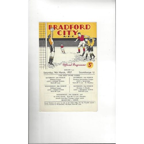 1956/57 Bradford City v Scunthorpe United Football Programme