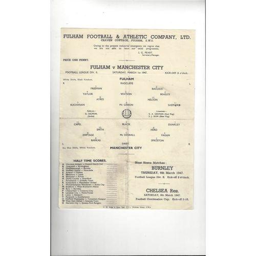 1946/47 Fulham v Manchester City Football Programme