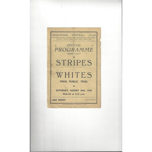 Brentford Stripes v Whites Public Trial Football Programme 1946/47