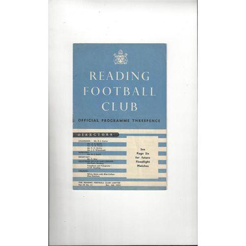 Reading v Racing Club Friendly Football Programme 1954/55
