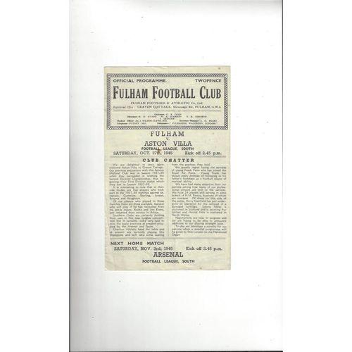 1945/46 Fulham v Aston Villa Football Programme