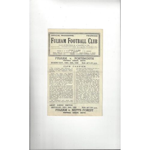 1945/46 Fulham v Portsmouth Football Programme