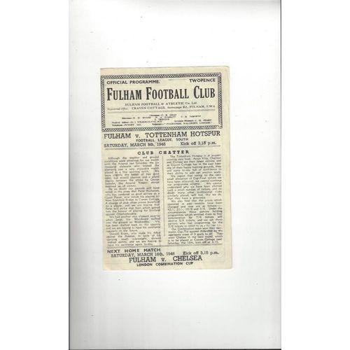 1945/46 Fulham v Tottenham Hotspur Football Programme