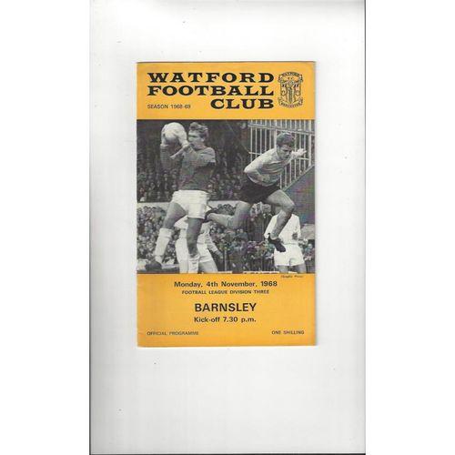 1968/69 Watford v Barnsley Football Programme
