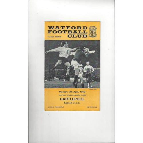 1968/69 Watford v Hartlepool United Football Programme