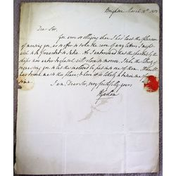 Unidentified 1813 Signed letter (Williams?) to Evans East India Company