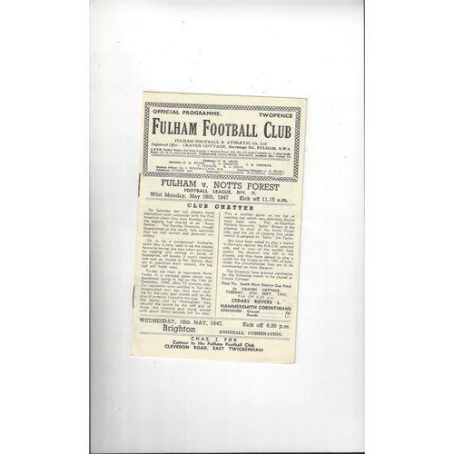 1946/47 Fulham v Nottingham Forest Football Programme
