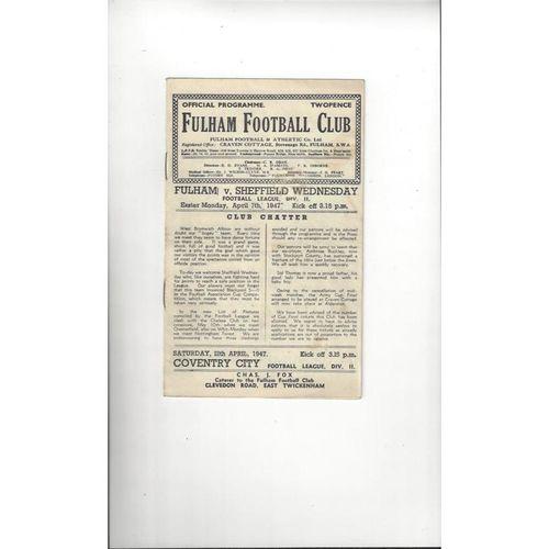 1946/47 Fulham v Sheffield Wednesday Football Programme