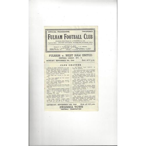 1946/47 Fulham v West Ham United Football Programme