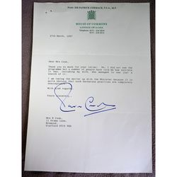 Patrick Cormack MP Staffordshire South Signed 1997 Letter