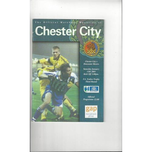 Chester City v Doncaster Rovers FA Trophy Football Programme 2000/01