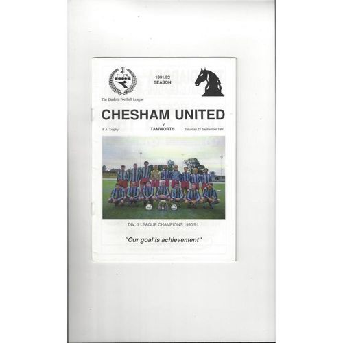 Chesham United v Tamworth FA Trophy Football Programme 1991/92