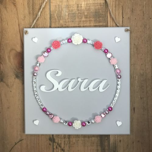 Pretty flowers name plaque