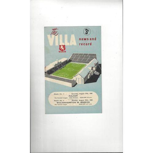 1949/50 Aston Villa v Fulham Football Programme