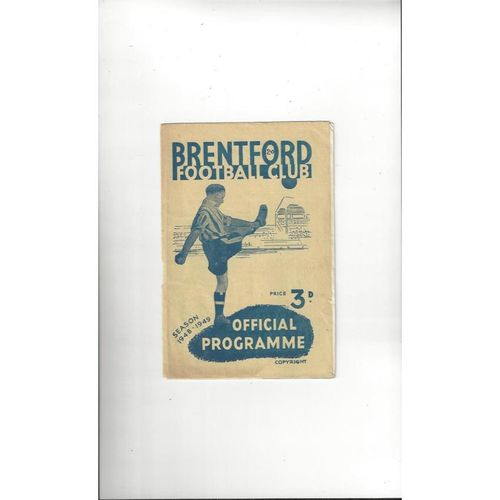 1948/49 Brentford v Fulham Football Programme