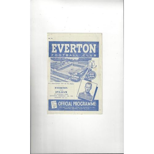 1947/48 Everton v Fulham FA Cup Replay Football Programme