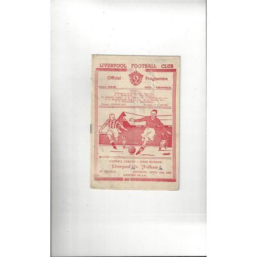1949/50 Liverpool v Fulham Football Programme