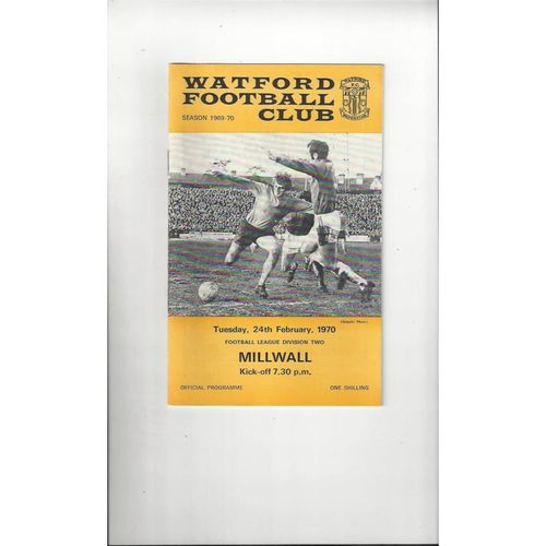 1969/70 Watford v Millwall Football Programme