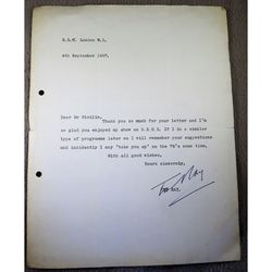 Ted Ray 1967 Signed Letter to Mr Nicklin