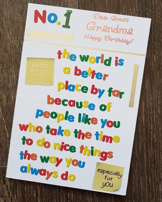 Grandma Coloured Wording Birthday Card