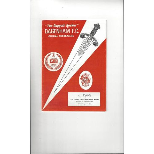 Dagenham v Enfield FA Trophy Football Programme 1990/91