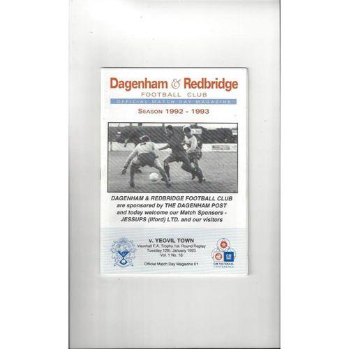 Dagenham v Yeovil Town FA Trophy Football Programme 1992/93